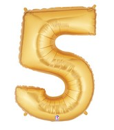 """40"""" Large Number Balloon 5 Gold"""
