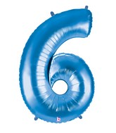 """40"""" Large Number Balloon 6 Blue"""