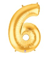 """40"""" Large Number Balloon 6 Gold"""