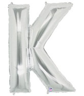 """40"""" Large Letter Balloon K Silver"""
