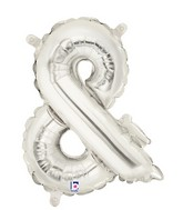 "14"" Valved Air-Filled Shape Ampersand Silver Balloon"