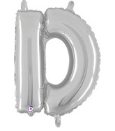 "14"" Valved Air-Filled Shape D Silver Balloon"