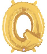 "14"" Valved Air-Filled Shape Q Gold Balloon"