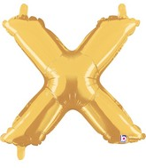 "14"" Valved Air-Filled Shape X Gold Balloon"