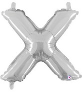 "14"" Valved Air-Filled Shape X Silver Balloon"