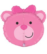 """27"""" Multi-Sided Dimensionals Baby Girl Bear Balloon"""
