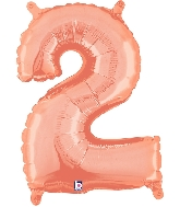 """14"""" Airfill with Valve Only Number 2 Rose Gold Balloon"""