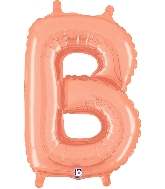 """14"""" Airfill with Valve Only Letter B Rose Gold Balloon"""