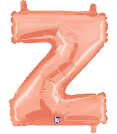 """14"""" Airfill with Valve Only Letter Z Rose Gold Balloon"""
