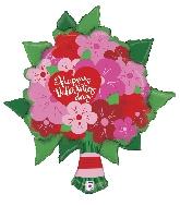 """38"""" Foil Balloon Valentine Flower Bouquet"""