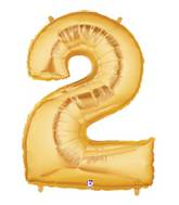 """7"""" Airfill (requires heat sealing) Megaloon Jr. Number Balloon 2 Gold"""