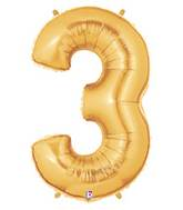"""7"""" Airfill (requires heat sealing) Megaloon Jr. Number Balloon 3 Gold"""