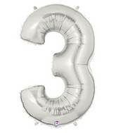 """7"""" Airfill (requires heat sealing) Number Balloon 3 Silver"""