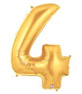 """7"""" Airfill (requires heat sealing) Megaloon Jr. Number Balloon 4 Gold"""