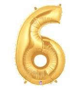 """7"""" Airfill (requires heat sealing) Megaloon Jr. Number Balloon 6 Gold"""