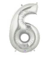 """7"""" Airfill (requires heat sealing) Number Balloon 6 Silver"""