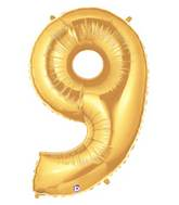 """7"""" Airfill (requires heat sealing) Megaloon Jr. Number Balloon 9 Gold"""
