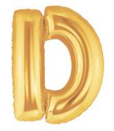 """7"""" Airfill (requires heat sealing) Megaloon Jr. Letter Balloons D Gold"""