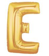 """7"""" Airfill (requires heat sealing) Megaloon Jr. Letter Balloons E Gold"""