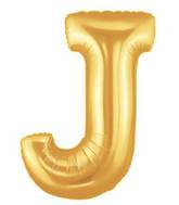 """7"""" Airfill (requires heat sealing) Megaloon Jr. Letter Balloons J Gold"""