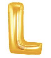 """7"""" Airfill (requires heat sealing) Megaloon Jr. Letter Balloons L Gold"""
