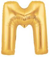 """7"""" Airfill (requires heat sealing) Megaloon Jr. Letter Balloons M Gold"""