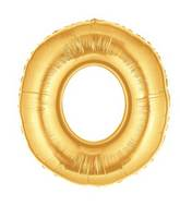 """7"""" Airfill (requires heat sealing) Megaloon Jr. Letter Balloons O Gold"""