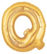 """7"""" Airfill (requires heat sealing) Megaloon Jr. Letter Balloons Q Gold"""