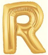 """7"""" Airfill (requires heat sealing) Megaloon Jr. Letter Balloons R Gold"""
