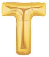 """7"""" Airfill (requires heat sealing) Megaloon Jr. Letter Balloons T Gold"""