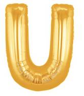 """7"""" Airfill (requires heat sealing) Megaloon Jr. Letter Balloons U Gold"""