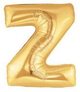 """7"""" Airfill (requires heat sealing) Megaloon Jr. Letter Balloons Z Gold"""