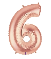 "40"" Foil Shape Megaloon Balloon Number 6 Rose Gold"