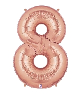"40"" Foil Shape Megaloon Balloon Number 8 Rose Gold"