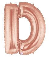 "40"" Foil Shape Megaloon Balloon Letter D Rose Gold"