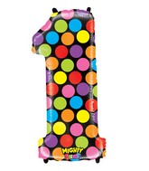 """40"""" Mighty Bright Shape Polybagged Number 1 Balloon"""