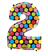 """40"""" Mighty Bright Shape Polybagged Number 2 Balloon"""