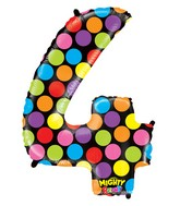 """40"""" Mighty Bright Shape Polybagged Number 4 Balloon"""