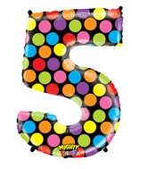 """40"""" Mighty Bright Shape Polybagged Number 5 Balloon"""