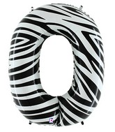 """40"""" Zebra Foil Shape Polybagged Number 0 Balloon"""