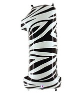 """40"""" Zebra Foil Shape Polybagged Number 1 Balloon"""
