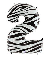 """40"""" Zebra Foil Shape Polybagged Number 2 Balloon"""