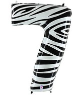 """40"""" Zebra Foil Shape Polybagged Number 7 Balloon"""