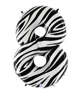 """40"""" Zebra Foil Shape Polybagged Number 8 Balloon"""