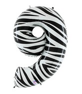 """40"""" Zebra Foil Shape Polybagged Number 9 Balloon"""