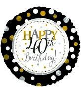 "18"" Happy 40th Birthday Foil Balloon"