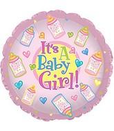 """9"""" Baby Girl Bottles Self Sealing Valve Foil Balloon"""