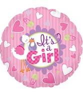 "9"" It's A Girl Stork Self Sealing Valve Foil Balloon"