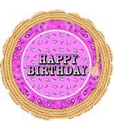 "18"" Pink Bandana Happy Birthday Foil Balloon"