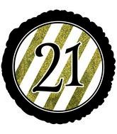 """18"""" 21 Black & Gold Glitter Foil Balloon"""